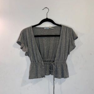 Grey tie front cropped shirt